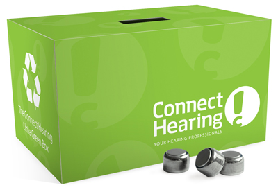 Connect Hearing designed and created the Little Green Box that their clients take home to recycle hearing aid batteries.