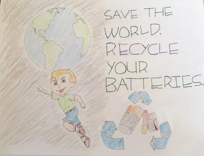 Save the world, recycle your batteries! A great message from Honora, grade 6 student at St. Cecilia School in Toronto.