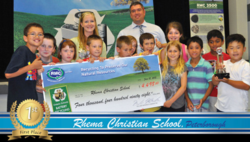 Rhema Christian School of Peterborough County, Ontario poses with a cheque after they won the 2014/2015 Ontario Schools Battery Recycling Challenge