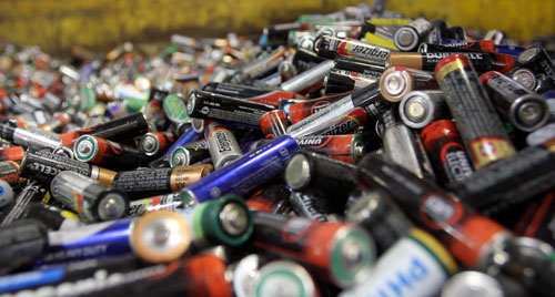 Alkaline batteries wait to be processed at Raw Materials Company in Port Colborne, Ontario