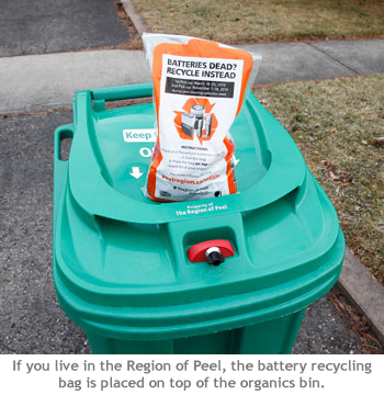 The Region of Peel shows a battery recycling bag sitting on top of a green cart on recycling day.