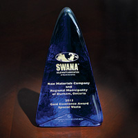 Picture of the SWANA Gold Award for Special Waste Management awarded to Raw Materials Company of Port Colborne Ontario for its battery recycling technology.