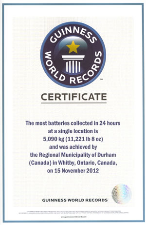 Guiness World Record certificate for most batteries recycled in a 24 hour period